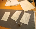 Tacking together ground cloth with wadding in preparation for quilting © Taylor-Davies Design
