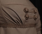Detail of bodice with handmade gimped buttons, Russia braid and bespoke gimped braid © Jon Mortimer